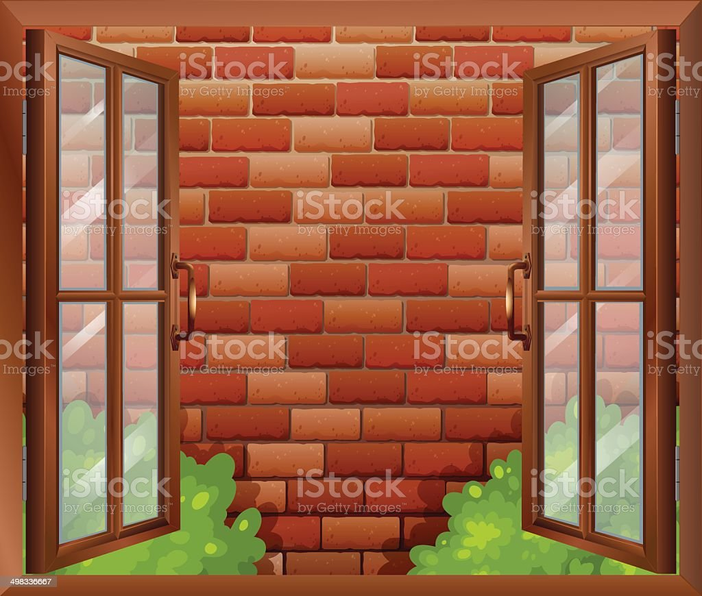 Window and the tall stonewall vector art illustration