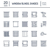 Window blinds, shades line icons. Various room darkening decoration, roller shutters, roman curtains, horizontal and vertical jalousie. Interior design thin linear signs for house decor shop