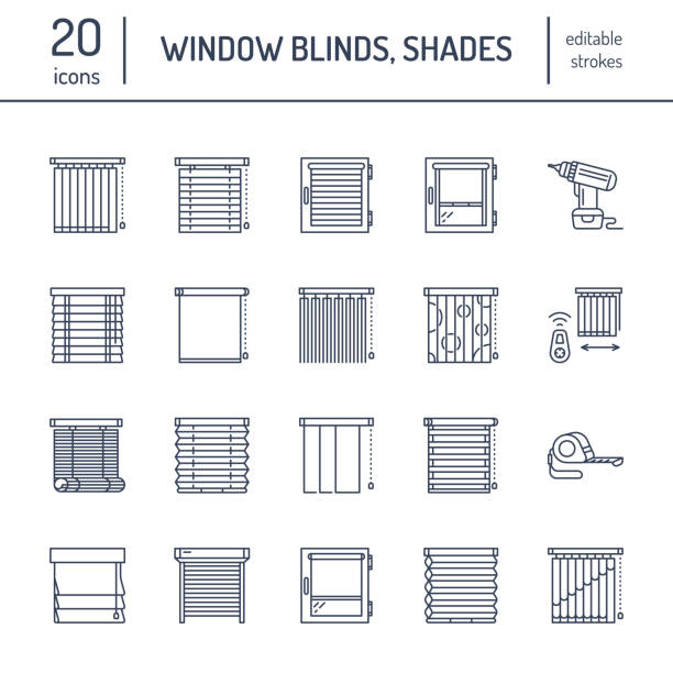 window blinds, shades line icons. various room darkening decoration, roller shutters, roman curtains, horizontal and vertical jalousie. interior design thin linear signs for house decor shop - store stock illustrations