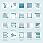 Window blinds, shades line icons. Various room darkening decoration, roller shutters, roman curtains, horizontal and vertical jalousie. Interior design thin linear colored signs for house decor shop
