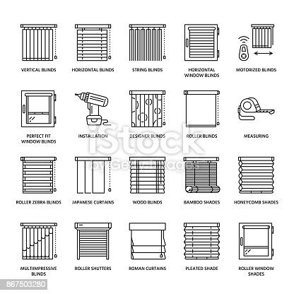 Window Blinds Shades Line Icons Various Room Darkening