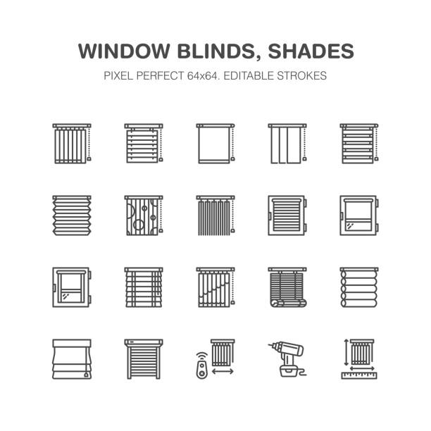 window blinds, shades line icons. various room darkening decoration, roller shutters, roman curtains, horizontal and vertical jalousie. interior design signs for house decor shop. pixel perfect 64x64 - store stock illustrations