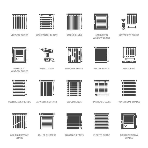 window blinds, shades vector glyph icons. various room darkening decoration, roller shutters, roman curtains, horizontal vertical jalousie. interior design solid silhouette signs for house decor shop - store stock illustrations