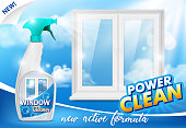 Window cleaner ad. Vector 3d realistic illustration of handy plastic trigger spray bottle and clean window. Window cleaning detergent promo poster design template.