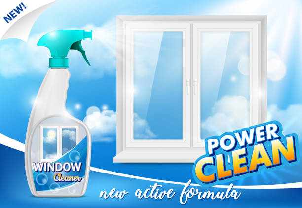 window cleaner advertising poster, vector realistic illustration - bleach stock illustrations