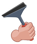 A window or car wash cleaner cartoon hand in a fist holding a squeegee cleaning tool