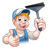 Window Cleaner Holding Squeegee