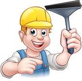 Window Cleaner Squeegee Cartoon Character