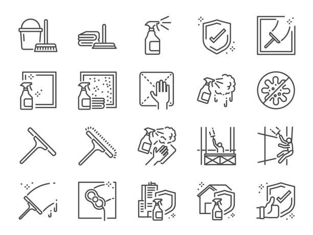 pencere temizleme çizgisi simge seti. temizlik hizmetleri, temiz, kariyer, iş, doluluk, pencere sünger ve daha fazlası olarak dahil simgeler. - cleaning stock illustrations