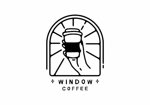 Window coffee line art illustration design