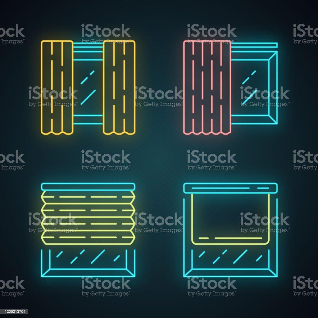 Neon De Decoration Interieur couvertures de fenêtre et rideaux icônes de lumière néon