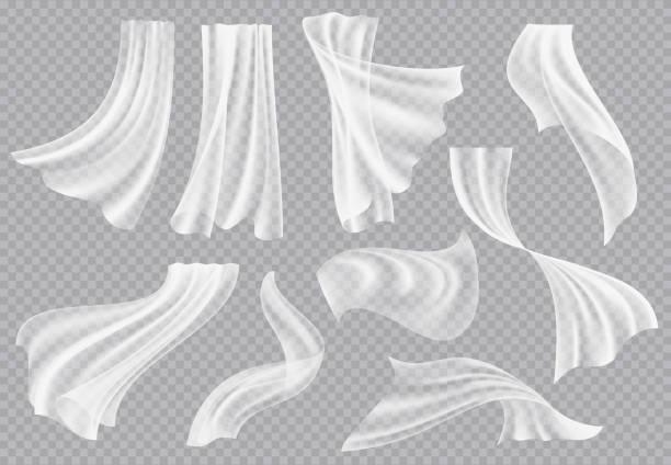 창 커튼. 흐르는 빈 직물 접힌 내부 의류 부드러운 실크 펄럭이는 장식 재료 벡터 현실적인 템플릿 - 반투명한 stock illustrations