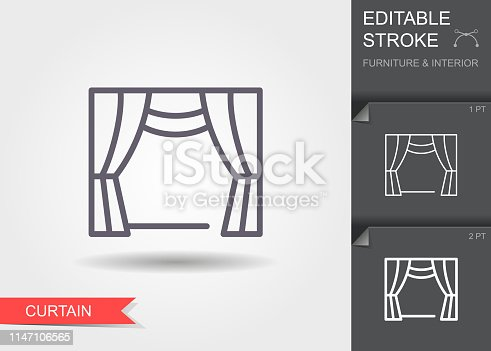 Window curtains. Outline icon with editable stroke. Linear symbol of the furniture and interior with shadow