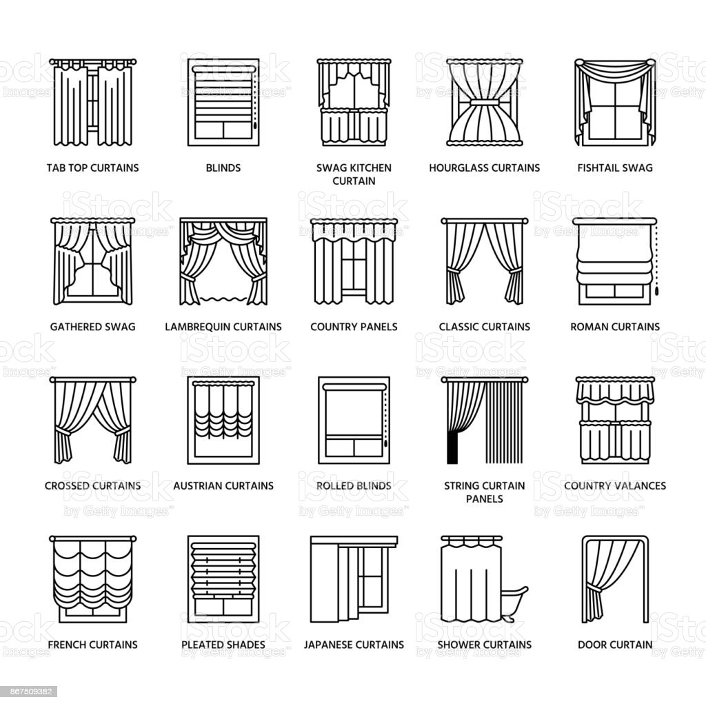 Window curtains, shades line icons. Various room darkening decoration, lambrequin, swag, french curtain, blinds and rolled panels. Interior design thin linear signs for house decor shop royalty-free window curtains shades line icons various room darkening decoration lambrequin swag french curtain blinds and rolled panels interior design thin linear signs for house decor shop stock illustration - download image now