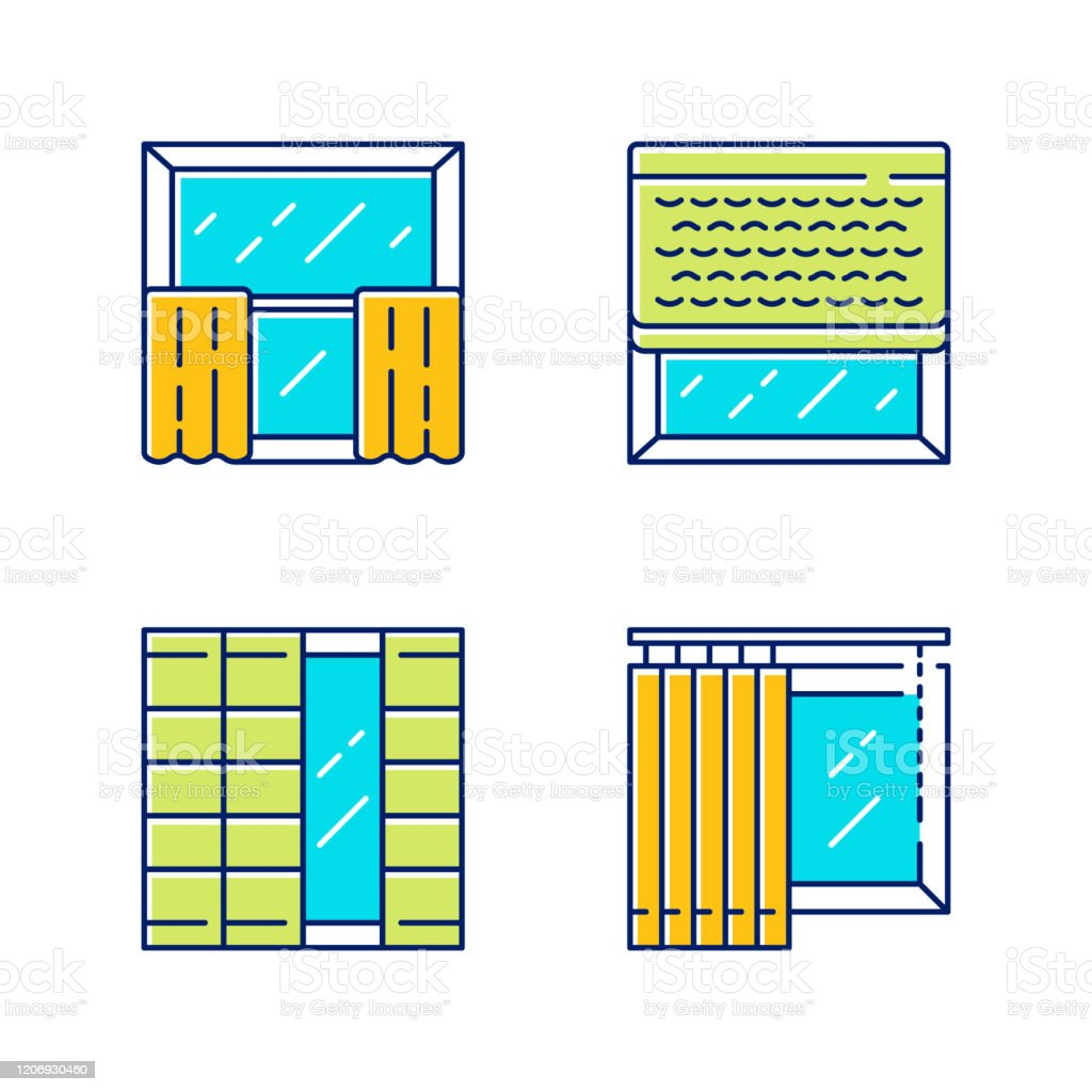Window Decoration Color Icons Set Cafe Curtains Vertical Blinds Woven Wood Shades Shoji Panels Home And Office Decoration Shop Interior Design Isolated Vector Illustrations Stock Illustration Download Image Now Istock