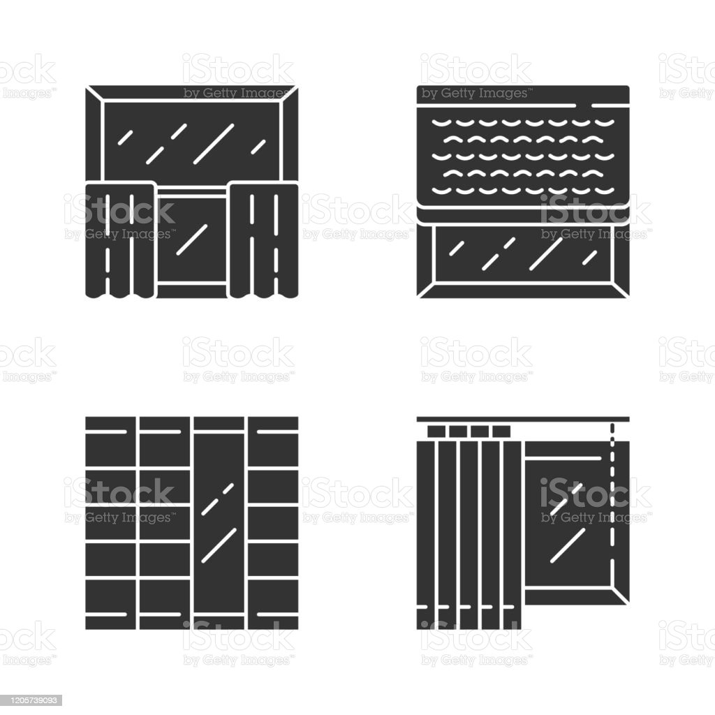 Window Decoration Glyph Icons Set Cafe Curtains Vertical Blinds Woven Wood Shades Shoji Panels Home And Office Decoration Shop Interior Design Silhouette Symbols Vector Isolated Illustration Stock Illustration Download Image Now