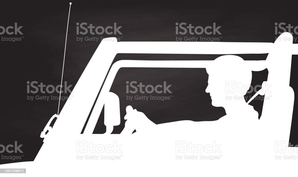 Window Down Summer Drive Chalk vector art illustration