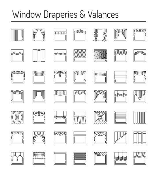 fenster-vorhänge und schürzen. interior design-elemente. linie-icon-set. - stoffrollos stock-grafiken, -clipart, -cartoons und -symbole