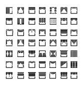Window draperies, valances, curtains. Interior design elements. Flat icon set. Vector illustration