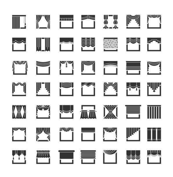 fenster-vorhänge, schabracken, gardinen. interior design-elemente. flache icon-set. vektor-illustration - stoffrollos stock-grafiken, -clipart, -cartoons und -symbole