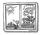 Window Dry Humid Weather Comparison Drawing