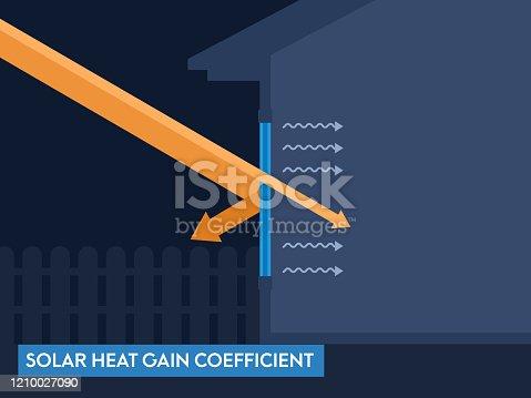 istock Window Efficiency Rating Solar Heat Gain Coefficient Vector Illustration 1210027090