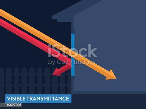 istock Window Efficiency Rating Visible Transmittance Vector Illustration 1210027098