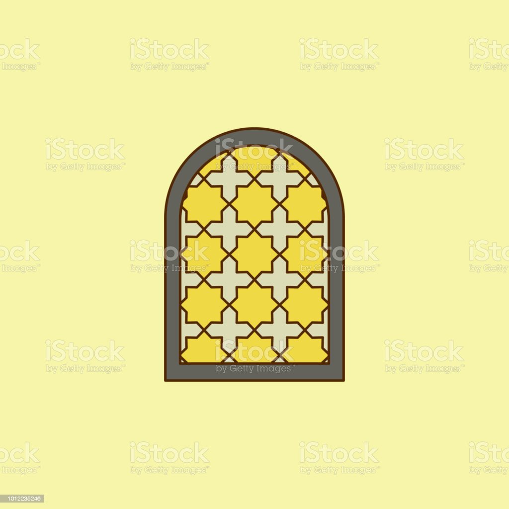 window frame arabic colored field outline icon. Element of Arabian culture icon for mobile concept and web apps. Field outline window frame arabic icon can used for web and mobile vector art illustration