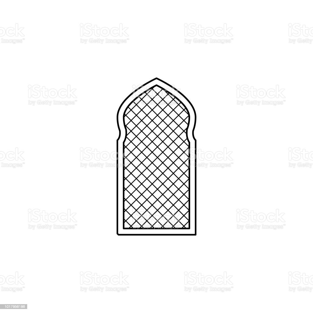 window frame arabic icon. Element of Arab culture icon for mobile concept and web apps. Thin line  icon for website design and development, app development. Premium icon vector art illustration