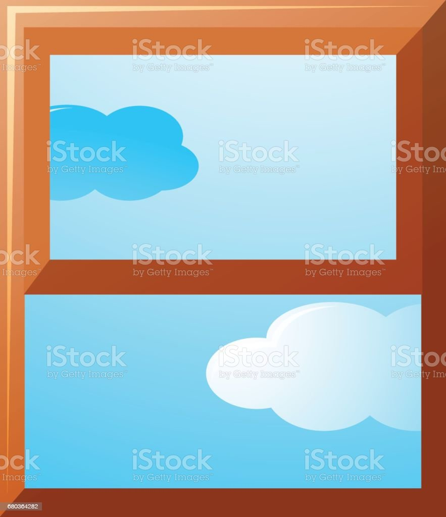 Window frame with sky view outside royalty-free window frame with sky view outside stock vector art & more images of art