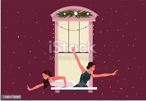 istock Window frames with neighbors doing daily things 1285476063