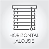 Window horizontal jalousie icon in outline style. Contour emblem for different design needs