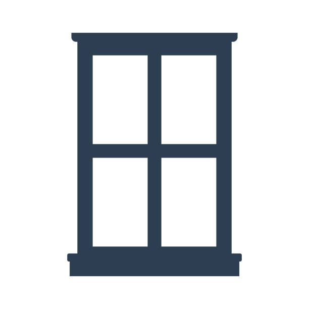 stockillustraties, clipart, cartoons en iconen met vensterpictogram op witte achtergrond. - raam
