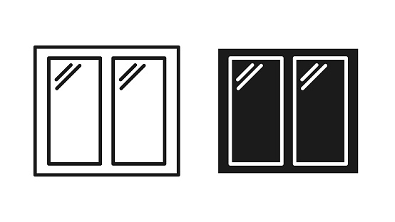 Window icons isolated on white background. Vector illustration