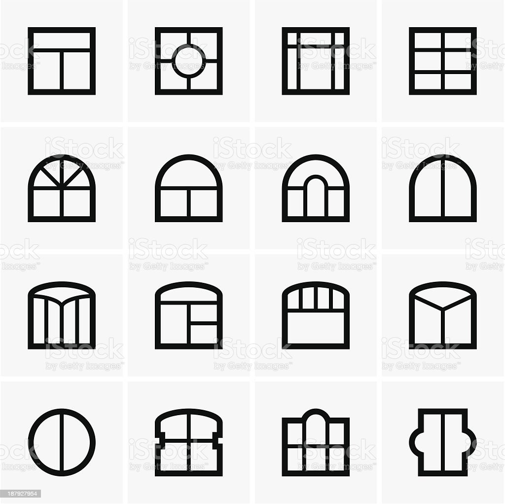 Window icons vector art illustration