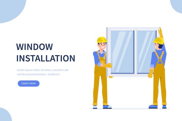 ilustrações de stock, clip art, desenhos animados e ícones de window installation - obras em casa janelas
