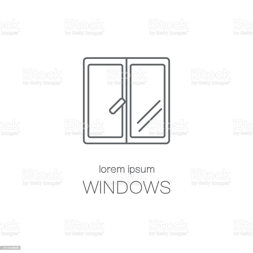 Window line icon logotype design templates. vector art illustration