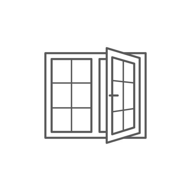 stockillustraties, clipart, cartoons en iconen met venster lijnpictogram op witte achtergrond - raam