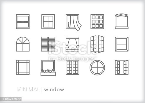 Set of 15 gray window line icons for houses and businesses including casement, double hung, glass block, circle, shutter, arched and decorative windows