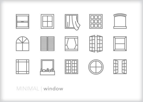 ilustraciones, imágenes clip art, dibujos animados e iconos de stock de iconos de la línea de ventana de varias formas arquitectónicas y tipos de ventanas de construcción de casas y negocios - window
