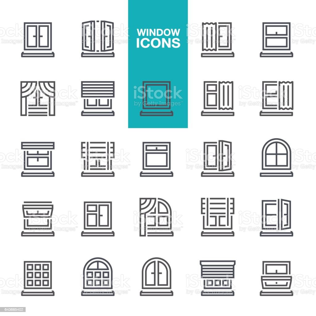 Window line icons vector art illustration
