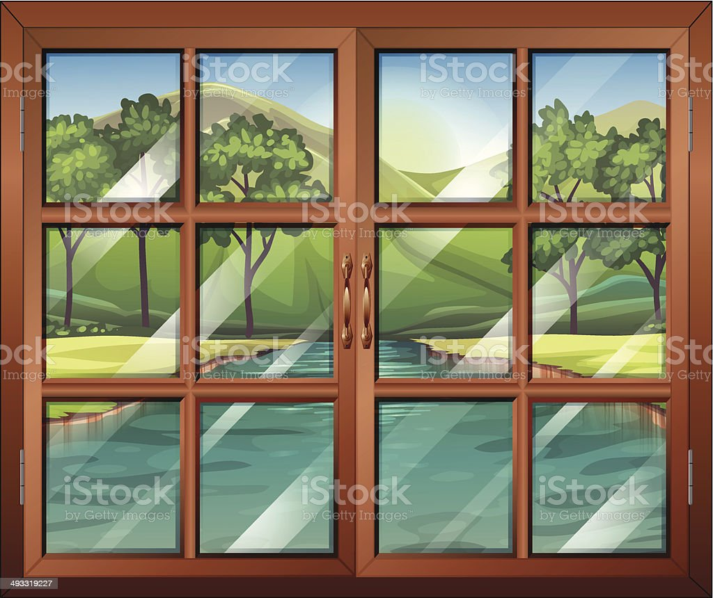 Window near the flowing river vector art illustration