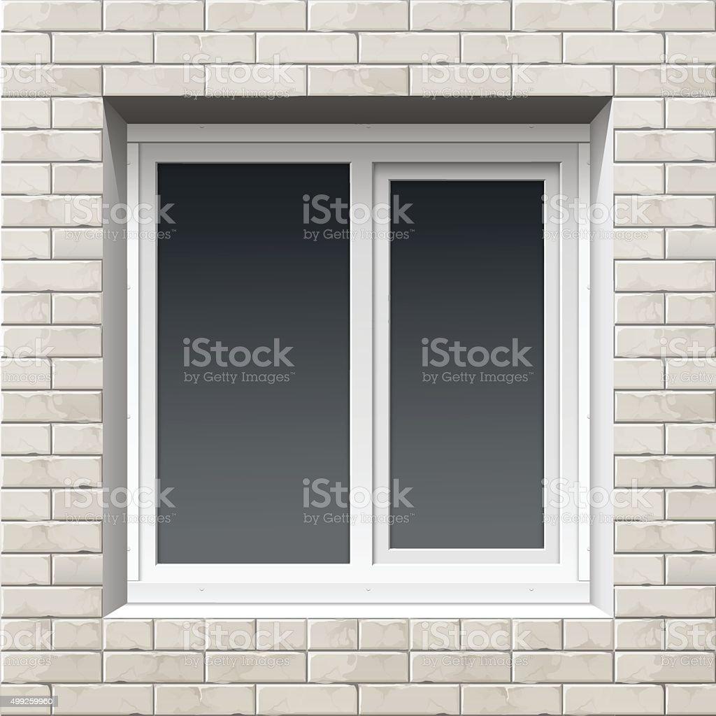Window on a Brick Wall vector art illustration