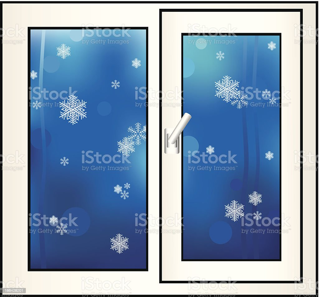 Window on a winter background. royalty-free stock vector art