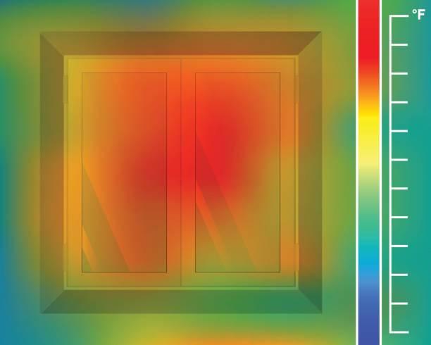 fenster in der wand von vorne. fassade des hauses für eine wärmebildkamera. thermografische farbbild der scan kamera. - infrarotfotografie stock-grafiken, -clipart, -cartoons und -symbole