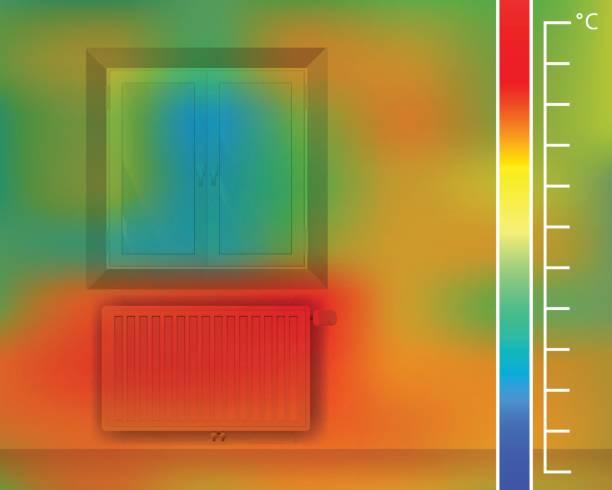 fenster in der wand in den raum. stahl-flachheizkörper für eine wärmebildkamera. thermografische farbbild der scan kamera. - infrarotfotografie stock-grafiken, -clipart, -cartoons und -symbole