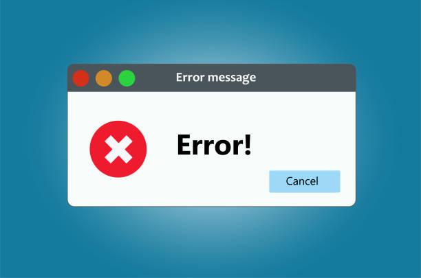 stockillustraties, clipart, cartoons en iconen met venster besturingssysteem fout waarschuwing. illustratie op witte geïsoleerde achtergrond - mislukking