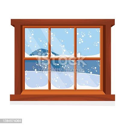 istock Window overlooking the winter landscape. Cartoon flat style. Vector illustration. 1284574064