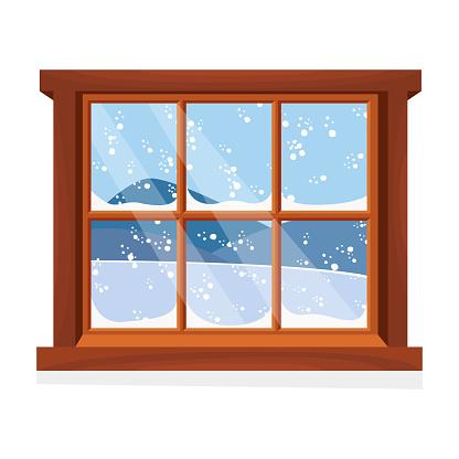 Window overlooking the winter landscape. Cartoon flat style. Vector illustration.