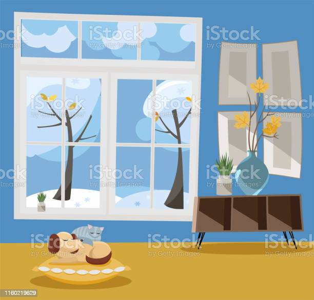 Window overlooking winter snowcovered trees winter interior sleeping vector id1160219629?b=1&k=6&m=1160219629&s=612x612&h=prto9qbmm xipqq9utbdwb9esqf0tb7 2daudj8ieiy=